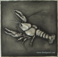 "Crawfish solid metal tile 6"" x 6"""