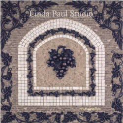 chateau grapes mosaic tile medallion