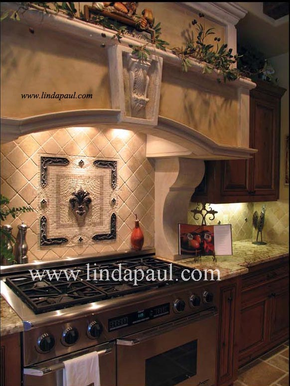 medallion installed as a kitchen backsplash stone colors are cream