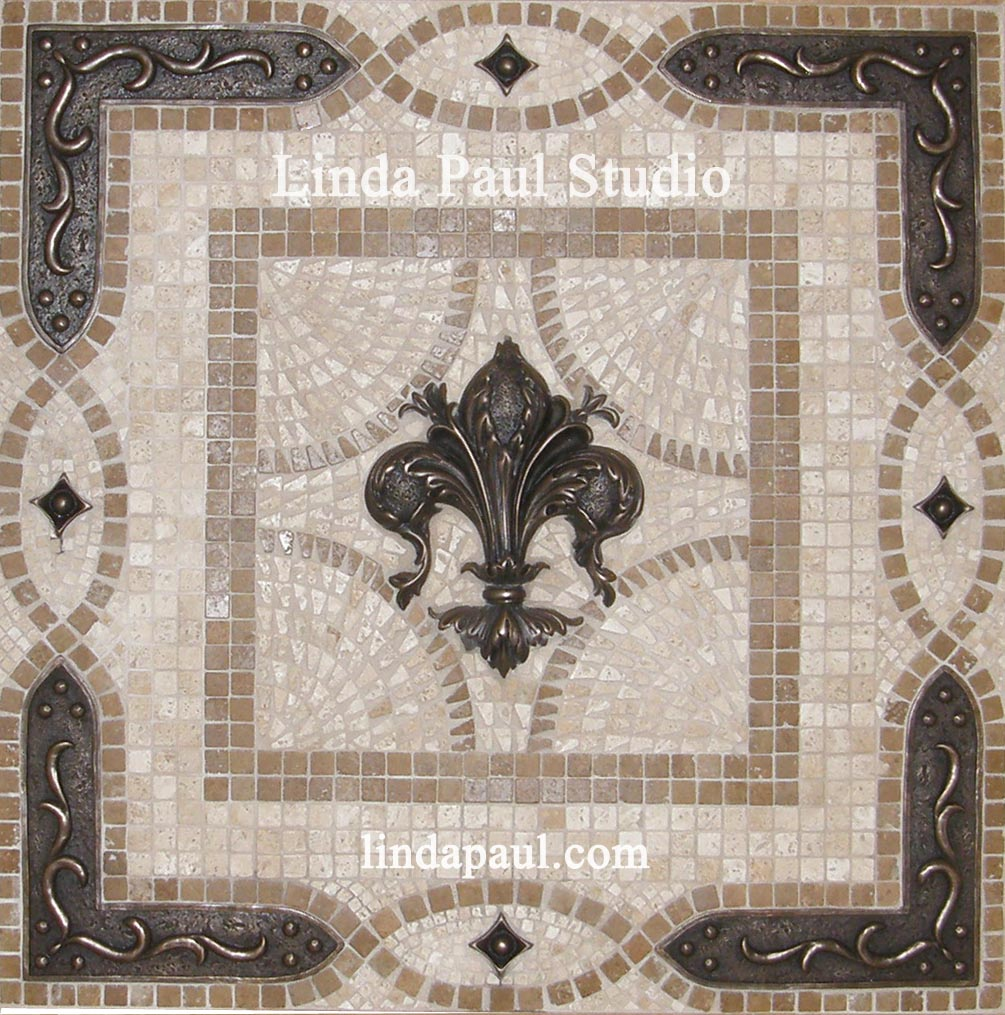 Fleur de lis backsplash tile mosaic medallion mosaics art mural fleur de lis stove backsplash medallion dailygadgetfo Images