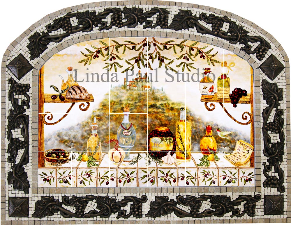 Italian tile backsplash kitchen tiles murals ideas for Custom mosaic tile mural
