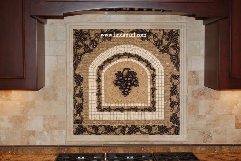 Grapes Mosaic Tile Medallion Kitchen Backsplash - Mural Mosaics