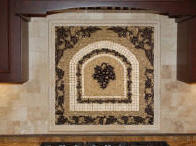 mosaic tile medallion kitchen backsplash design