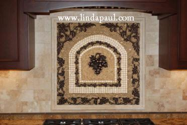 mosaic tiles medallion kitchen backsplash