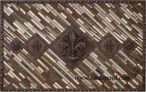 Studded Fleur Delis Backsplash With Mosaic Sticks Tile