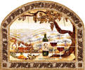 mosaic tile frame and Vineyard mural