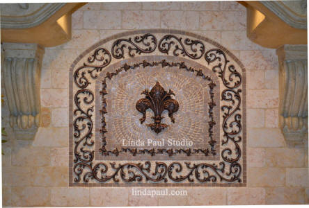 celeste fleur de lys backsplash medallion installation