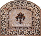Celeste Fleur de lys mosaic tile and netal medallion back splash