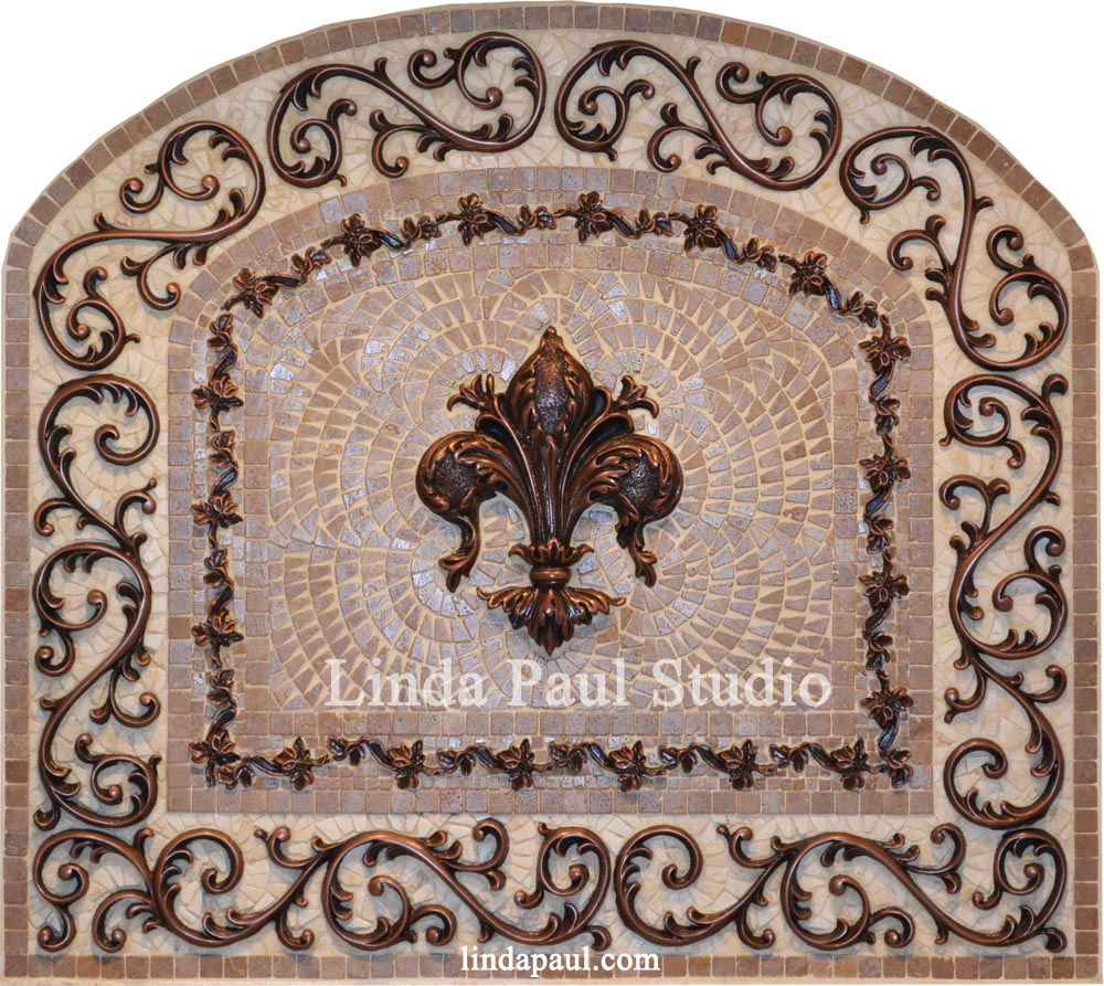 Fleur De Liskitchen Backsplash Arched Mosaic Tile And Metal Medallion
