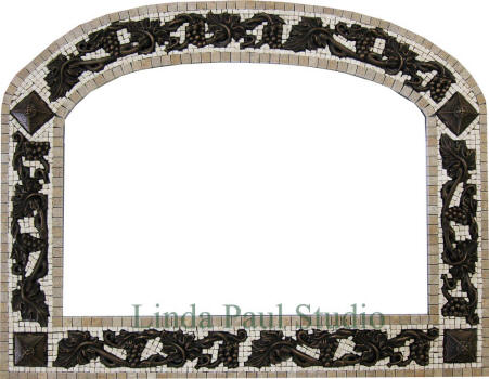 Chateau grape mosaic tile frame with grapevine metal accents