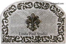 custom arched fleur de lis backsplash medallion