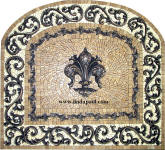 custom tile medallion fleur de lis backsplash