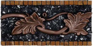 copper leaves and black stone border liner