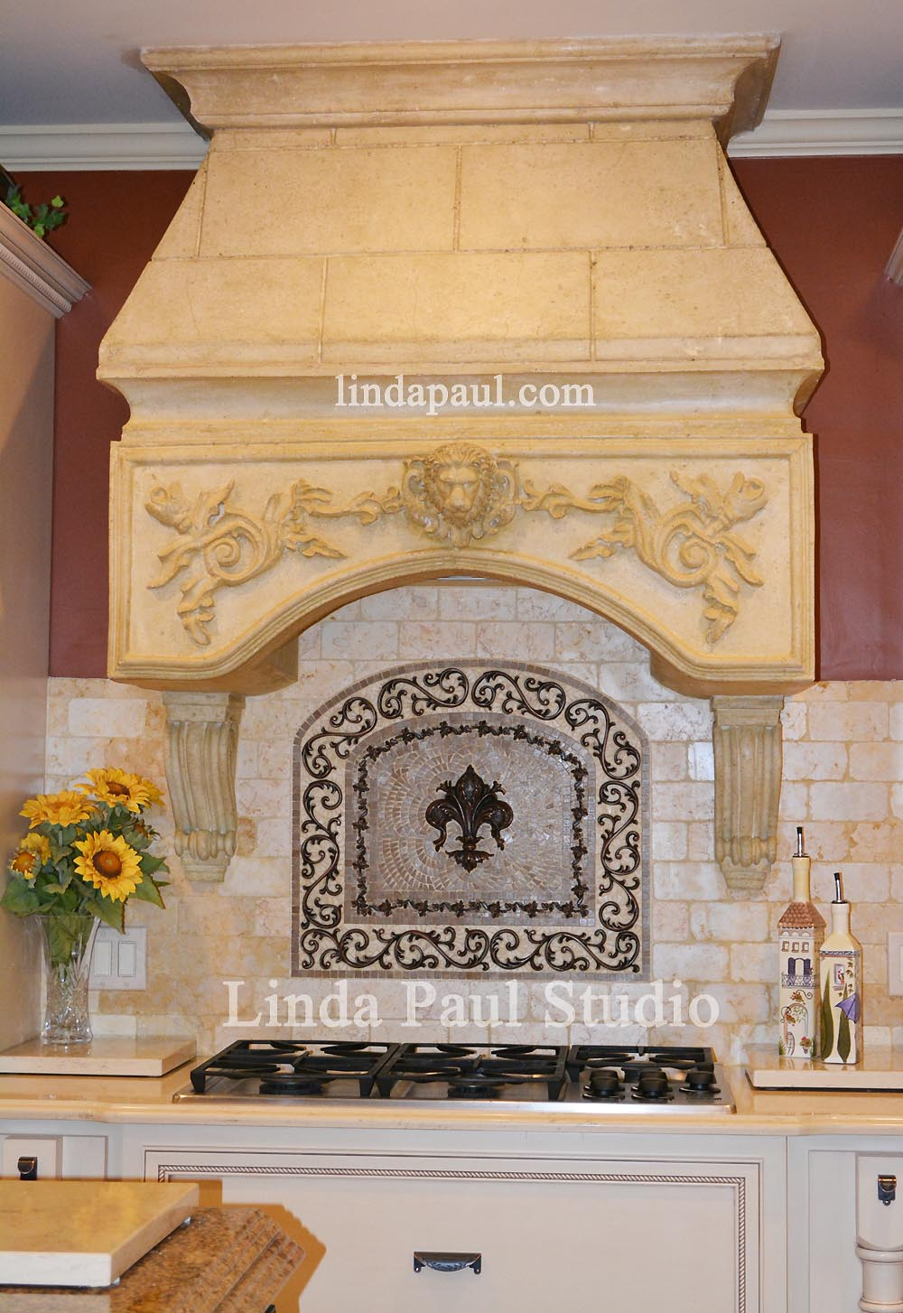 Stunning Kitchen Backsplash Idea With Medallion And Faux Stone Hood