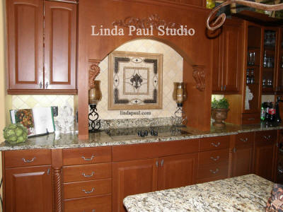 stove backsplash medallion