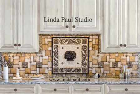 Landmark fruit basket medallion kitchen backsplash