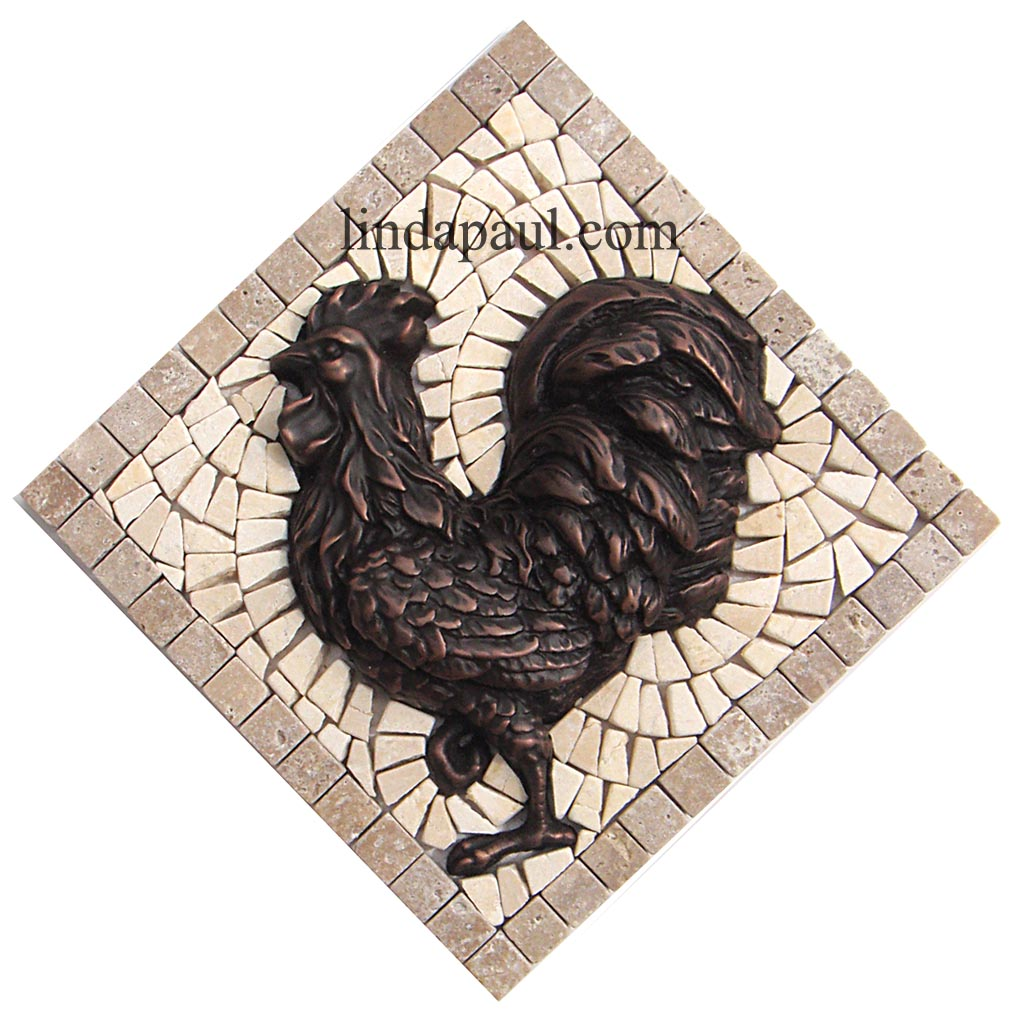 rooster tile medallions kitchen backsplashes with rooster art