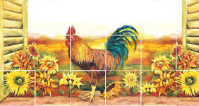 on sale back splash of rooster and sunflowers