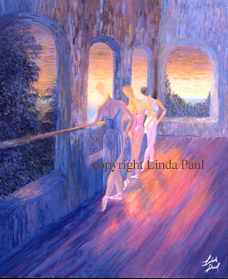 ballet painting of 3 dancers