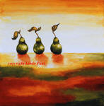 three pears by contemporary painter Linda Paul