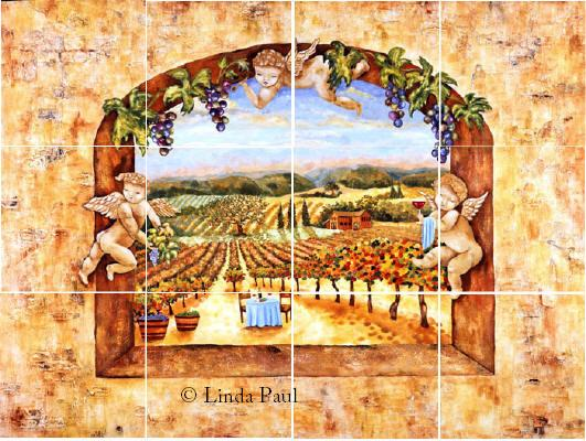 tile backsplash of vineyard and angels