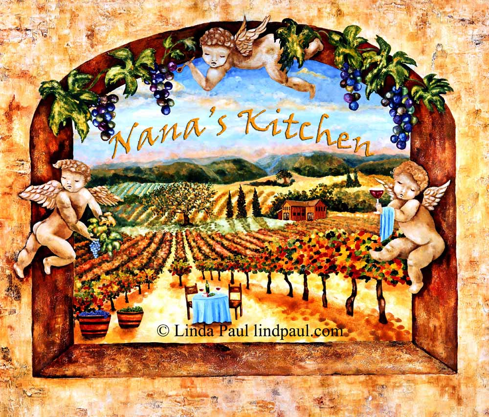vineyard view kitchen tile backsplash with grapes vines angels customised tile mural with nana s kitchen