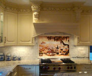 Vineyard 36 x 24 back splash with ivory border tile