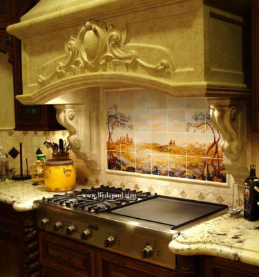 Fields of Tuscany kitchen backspash over range by artist linda Paul