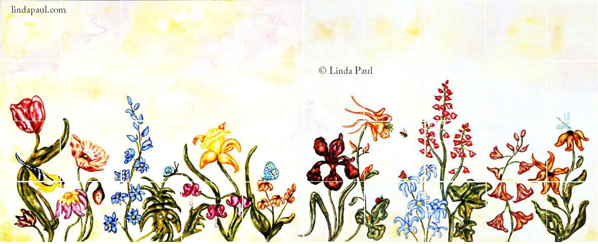 Flower garden tile murals backsplashes of flowers and Mural of flowers