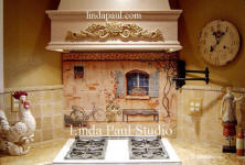 country french tile mural back splash