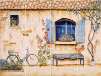french country tile mural