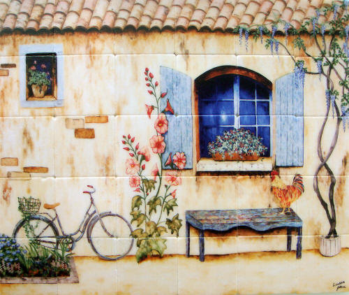 french country kitchen tile mural backsplash