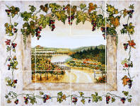grapes kitchen mural backsplash
