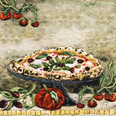 Italian Pizza Kitchen Tile Backsplash Mural By Artist Linda Paul