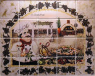 italian tile mural backsplash