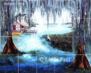bayou tile backsplash mural