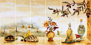 olive garden painted tile mural backsplash