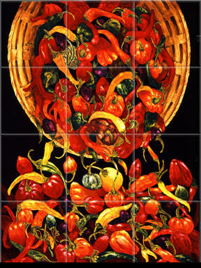 Kitchen Backsplash Ideas on Mexican Tiles   Mexican Tile Murals   Chili Pepper Backsplashes