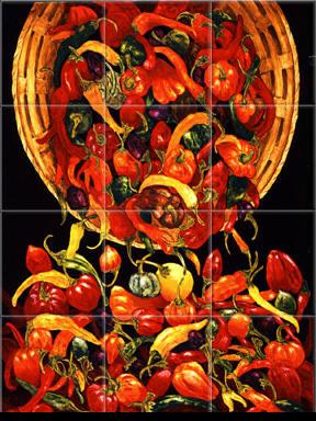 Kitchen Backsplash Ideas on Mexican Tiles   Mexican Tile Murals   Chili Pepper Backsplashes