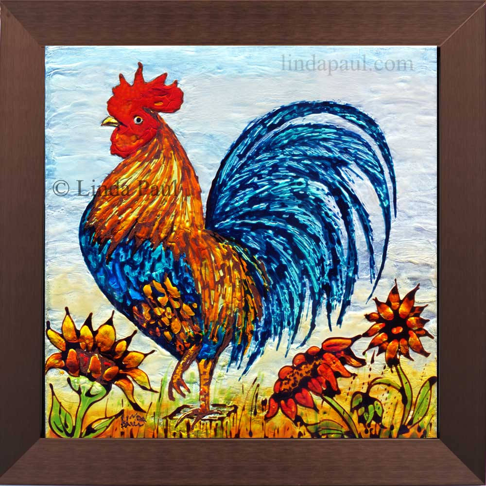 Rooster Decor - framed wall art or backsplash tile for kitchen
