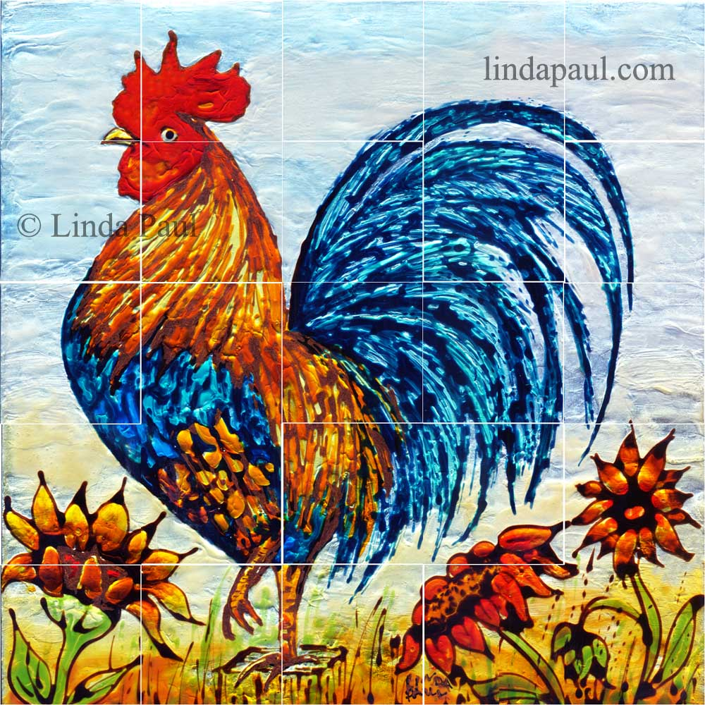 Mural Tiles For Kitchen Decor Rooster Decor Framed Wall Art Or Backsplash Tile For Kitchen