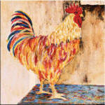 rooster painted backsplash tile from french country house