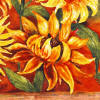 orange sunflower tile accent