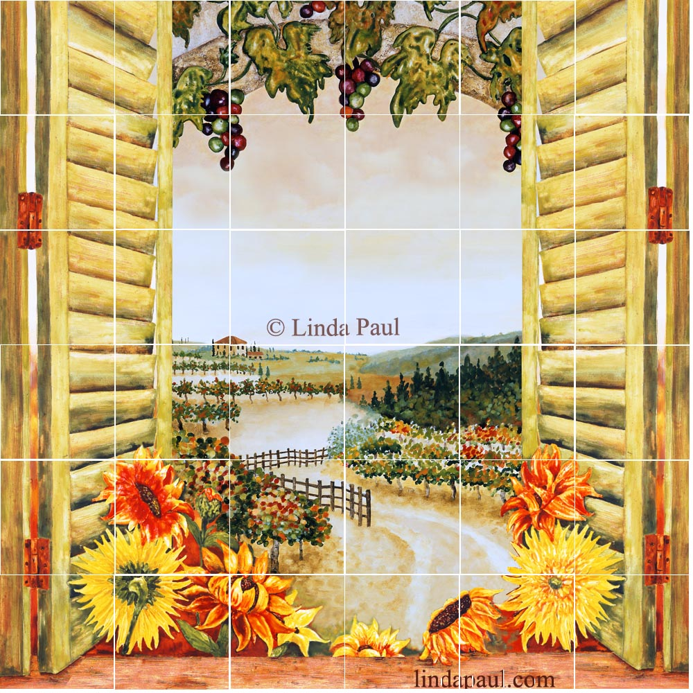 Kitchen Mural Sunflowers Vineyard Backsplash Tile Mural For Country Kitchens