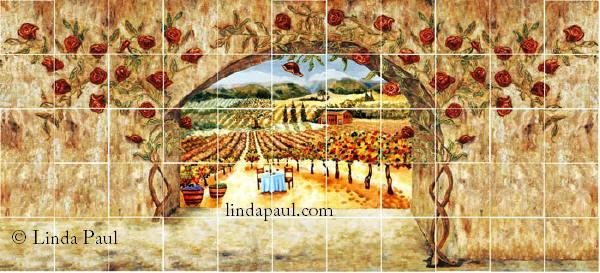 roses and vineyard tile art backsplash