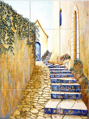 Mediterranean Style Tile Mural Backsplash