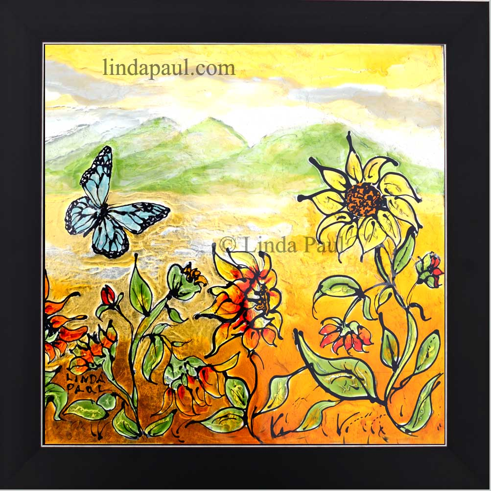 Sunflowers and Blue Butterfly Removable Backsplash Art