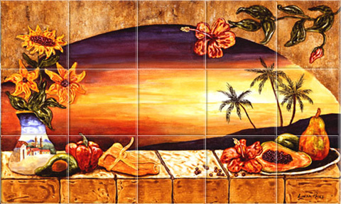 mexican tiles mural with sunset and palm trees