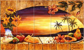 Sunset Window tropical decor with plam tree accent tiles