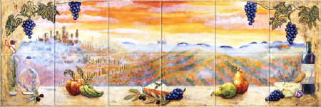Tuscany Sunset kitchen tile mural backsplash